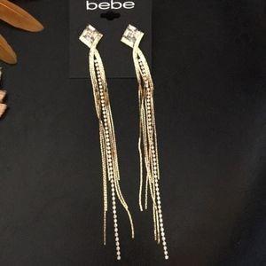 """bebe Bling waterfall Crystal & Gold Earrings 7"""""""